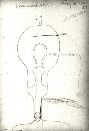 Thomas Edison light bulb sketch